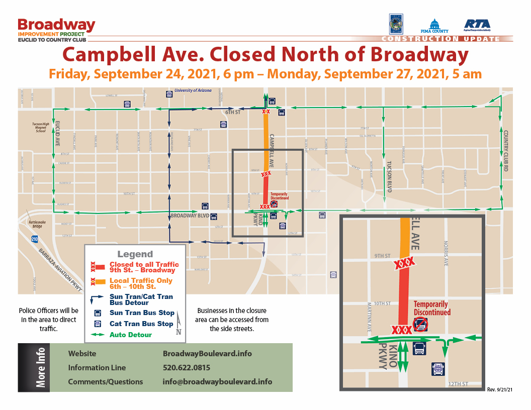 Broadway-Campbell North Side Closure 9.24.2021