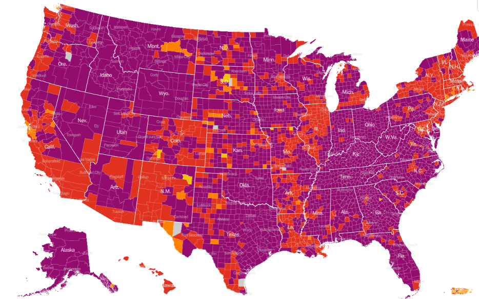 USA Map Risk Levels