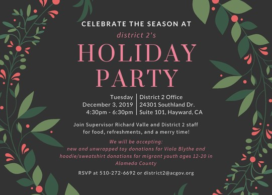 District 2 Holiday Party Invite