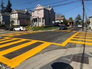 San Jose Ave and Willow St freshly painted ladder-style crosswalk
