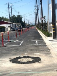 """Clement Ave with lightly painted """"cat tracks"""" for new crosswalk and cycle track"""