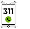 Mobile phone showing 311 on screen