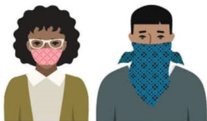 two people wearing cloth face coverings