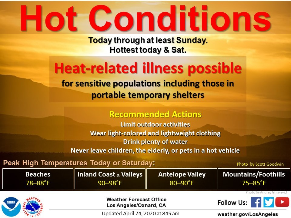 hot conditions today through Sunday heat related illness possible for sensitive populations limit outdoor activities drink plenty of water