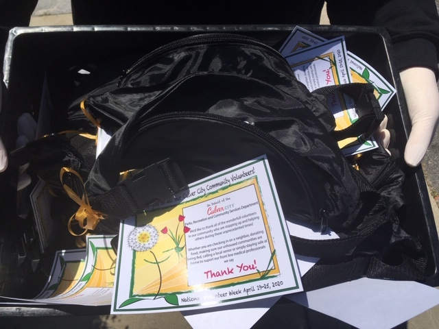 Bags with thank you notes for CERT volunteers