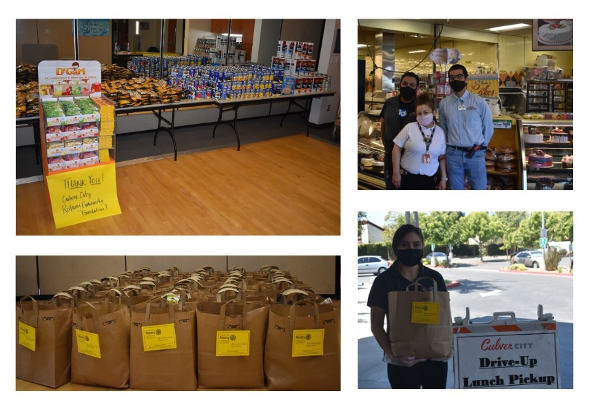 food donations with grocery store workers and staff member holding food bag
