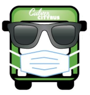 Culver CityBus graphic wearing sunglasses and a cloth face covering