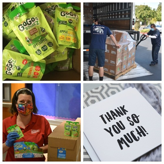 """GoGo squeeZ packs being offloaded from a large truck, City employee holding up packs of GoGo squeeZ, Thank you note, """"Thank you so much!"""""""