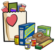 Food Items: grocery bag with heart on it along with dry food goods