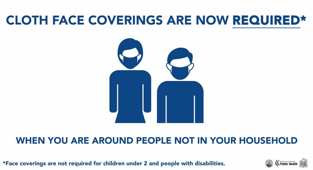 Cloth face coverings are required when you are around people not in your household. Not required for children under 2 & people with disabilities.