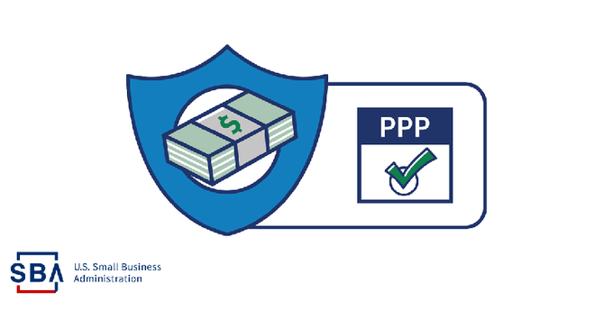 Small Business Administration Paycheck Protection Program Icon with green check mark with cash