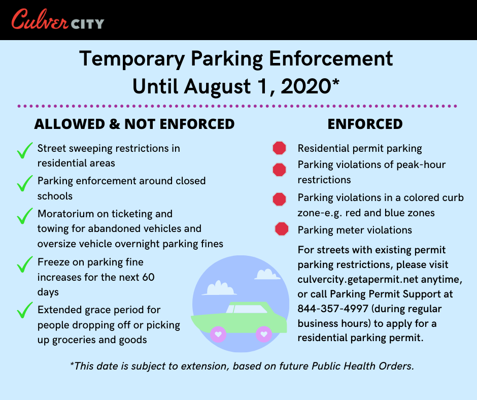 Temporary Parking Enforcement Until August 1, 2020 List noted in text above. Car with clouds in background.
