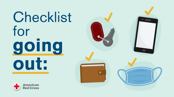 Checklist for going out: icons showing keys, wallet, phone, mask