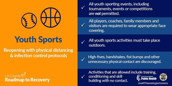 Youth Sports (icon of baseball and basketball) reopening with physical distancing & infection control. Requirements listed same as in text above.