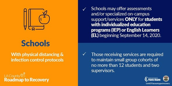 Schools may offer specialized on-campus support ONLY for students with individualized education programs or English Learners
