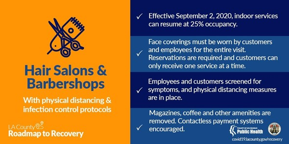 Hair salons/barbershops: effective 9/2, indoor services can resume at 25% occupancy; face coverings, symptom screening required