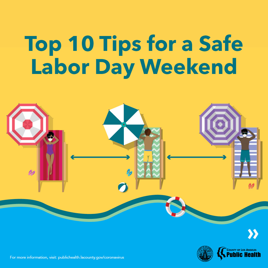 Top 10 Tips for a Safe Labor Day Weekend; people lounging on the beach, wearing masks and socially distanced