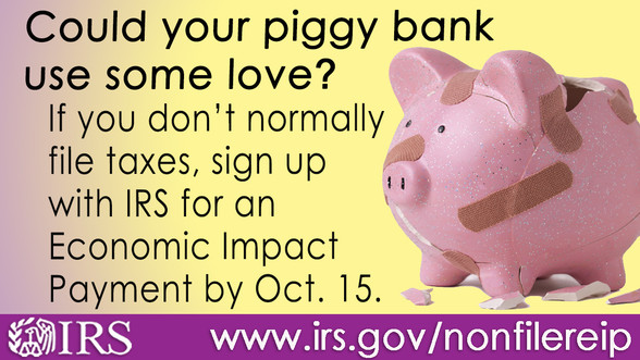 Could your piggy bank use some love? If you don't normally file taxes, sign up for an Economic Impact Payment by Oct. 15.