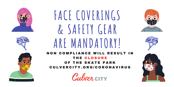 Face coverings & safety gear are mandatory! Non-compliance will result in the closure of the skate park. People wearing masks.