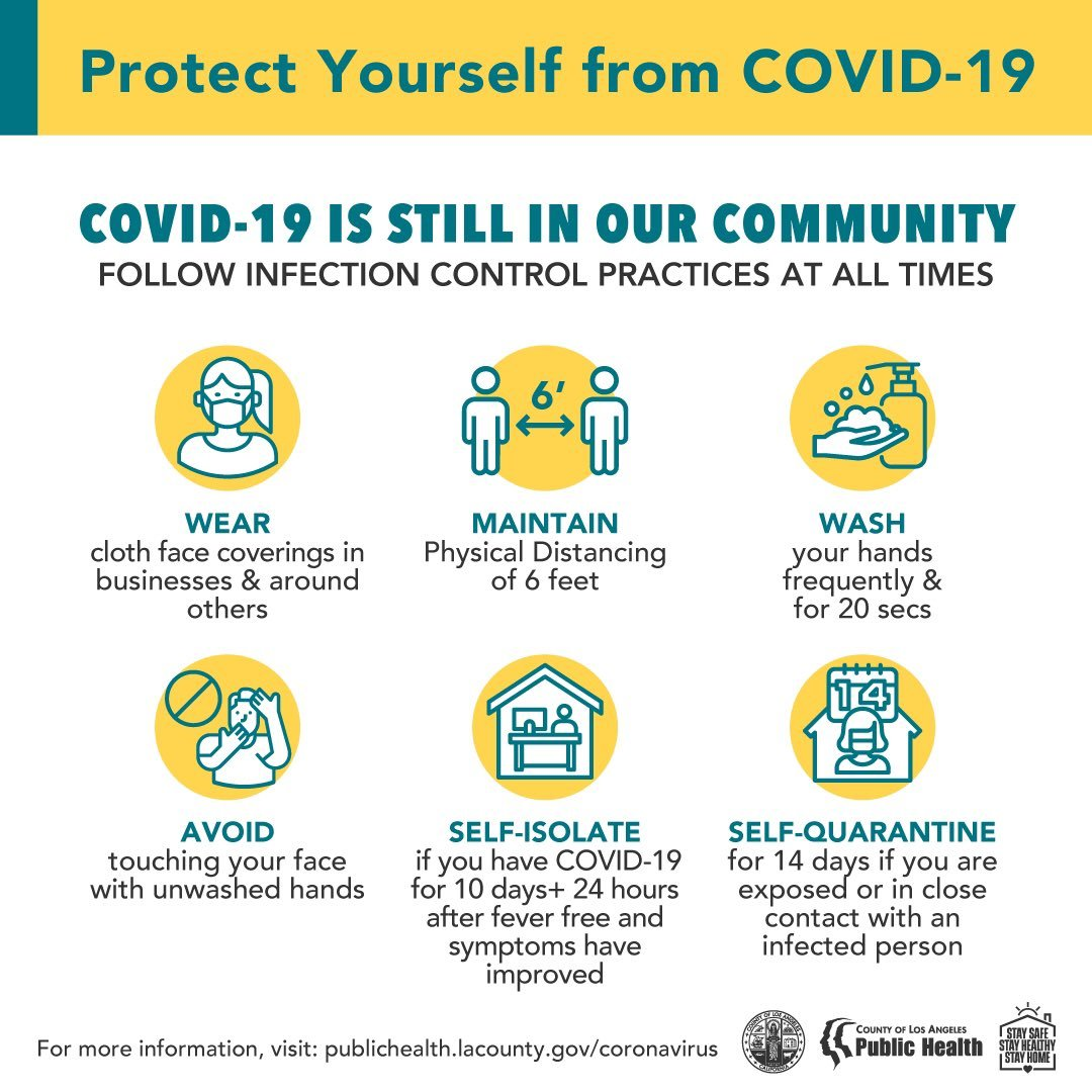 COVID-19 is Still in our community. Follow infection control practices at all times: wear mask, maintain 6 feet, wash hands, avoid touching face