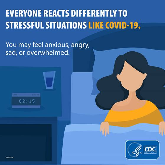 Everyone reacts differently to stressful situations like COVID-19. You may feel anxious, angry, sad or overwhelmed.