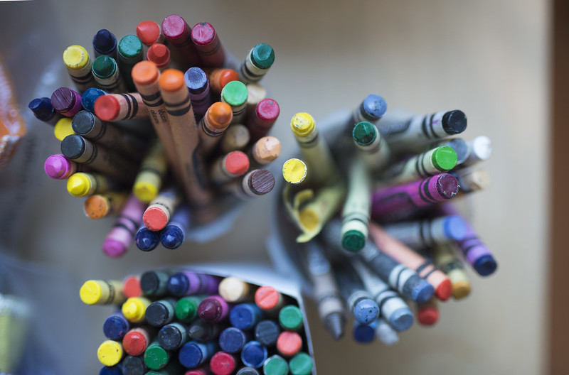 cups full of crayons
