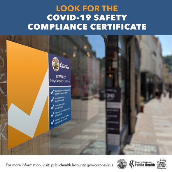 Look for the COVID-19 Safety Compliance Certificate; image with sign in window with big check mark