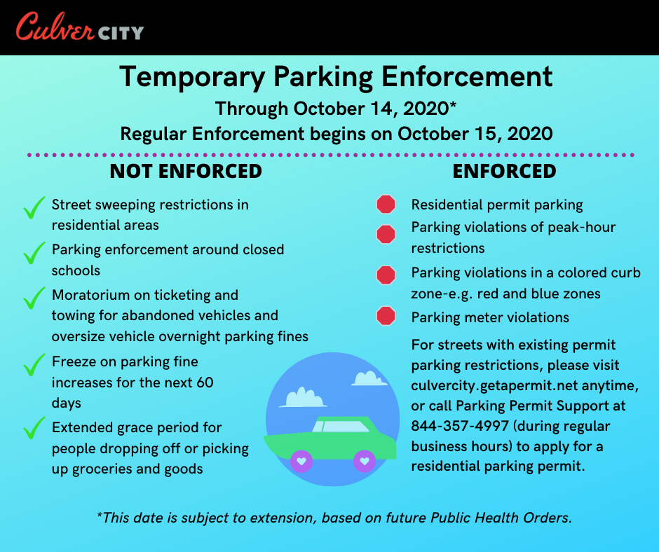Relaxed parking enforcement extended to October 14, 2020