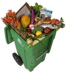 Green bin full of meats, vegetables, fruits, paper goods, flowers and other compostable items