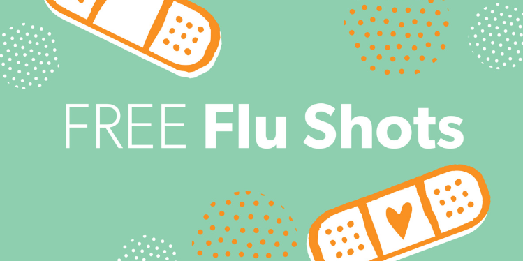 Free Flu Shots graphic with bandaids and hearts