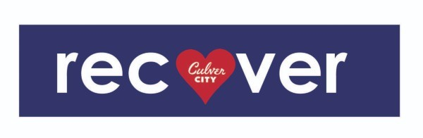 """recover; letter """"o"""" is represented as a heart with Culver City logo inside"""