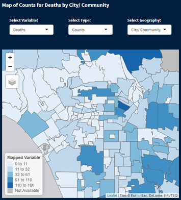 Maps of Counts of Deaths by City/Community in LA County