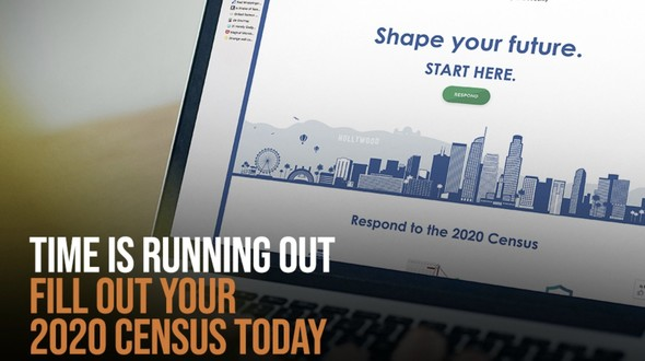 Time is running out. Fill out your 2020 Census today. View of laptop displaying Census landing page.