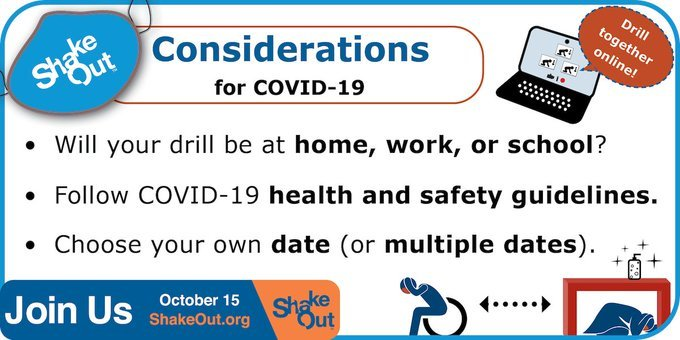 ShakeOut considerations for COVID-19. Follow health and safety guidelines. Choose your own date; do drill at home, work, or school.