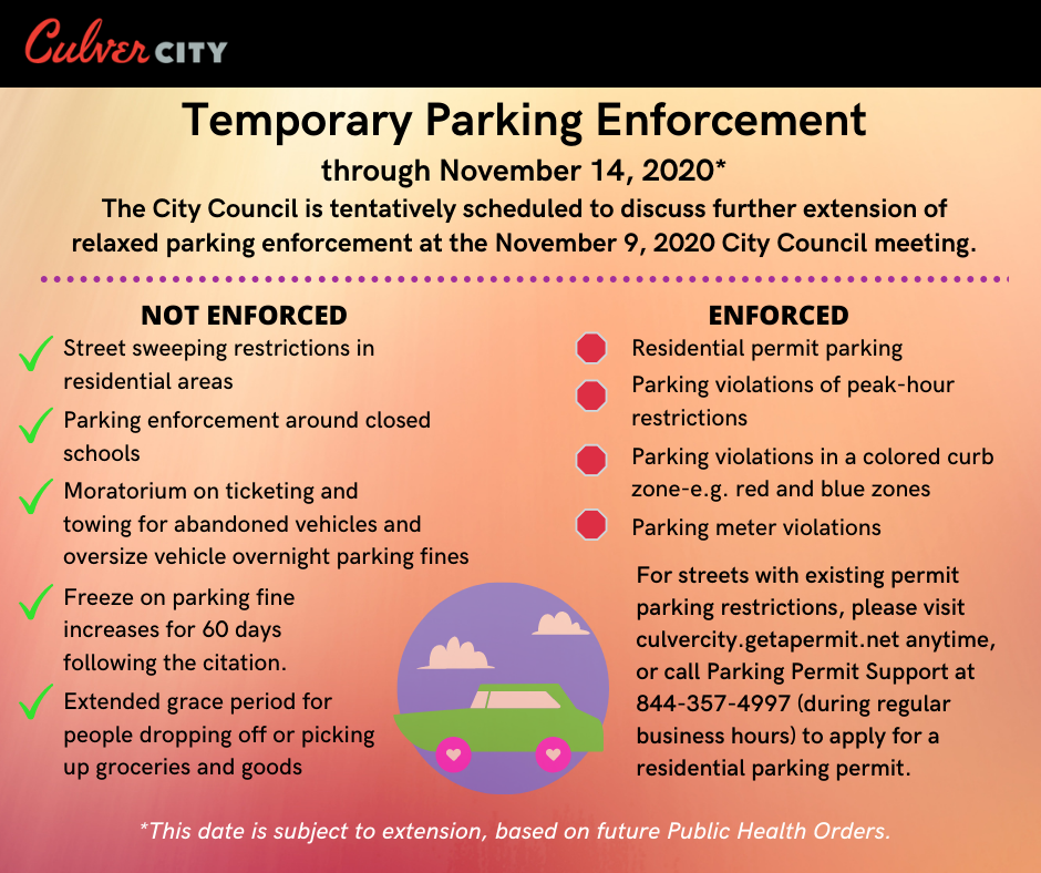 Temporary parking enforcement: residential parking permit, peak hour restrictions, parking violations in colored curb zone, parking meter violations