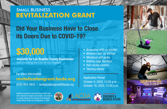 Small Business Revitalization Grant Information; Did your business have to close its doors due to COVID-19? Click here for details.