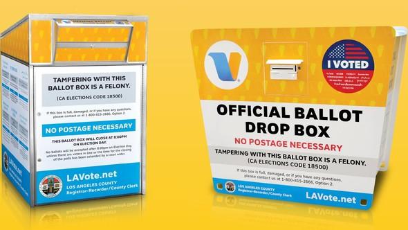 Image of an official ballot drop box