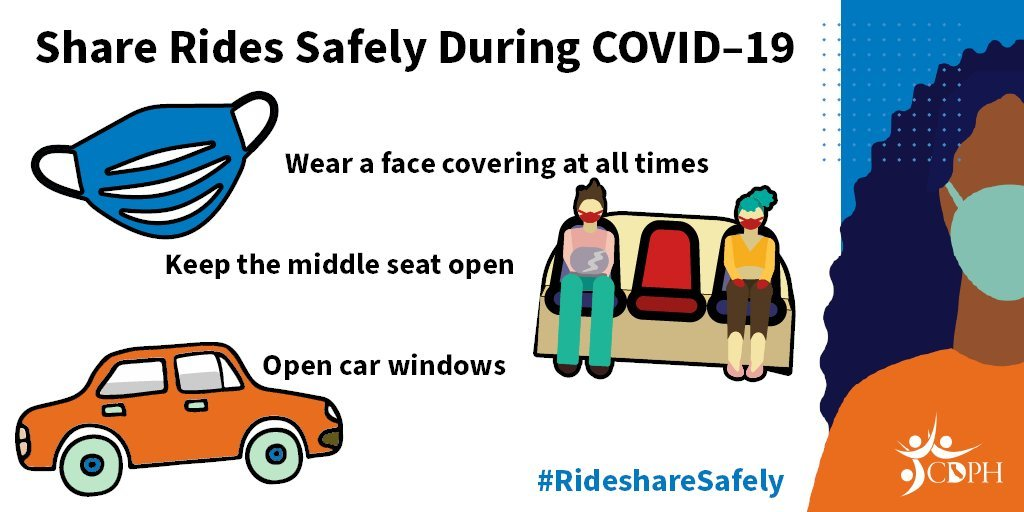 Share rides safely during COVID-19; wear a face covering, keep the middle seat open, open car windows