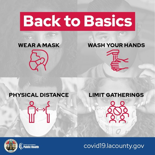 Back to Basics: wear a mask, wash your hands, physical distance, limit gathering