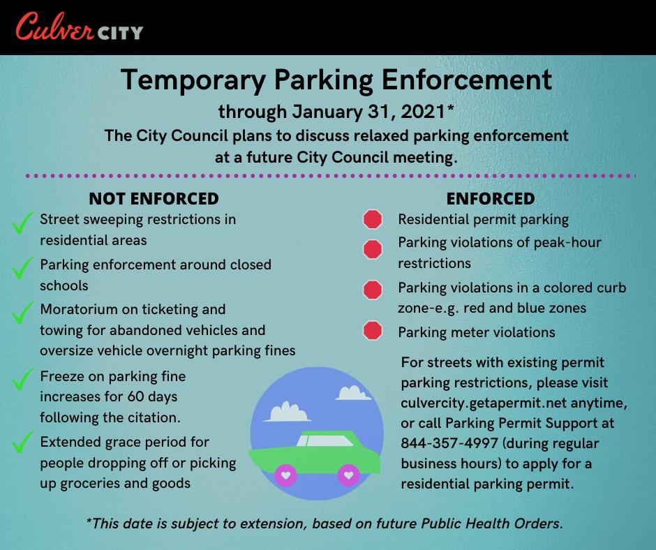 Temporary parking enforcement through Jan. 31, 2021. Find full list at https://www.culvercity.org/coronavirus/ under resident information.