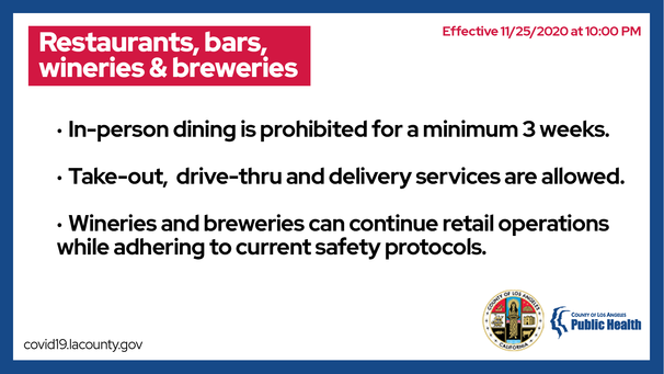 Restaurants, bars, wineries & breweries - in-person dining prohibited for 3 weeks beginning 11/25/20; take out delivery allowed