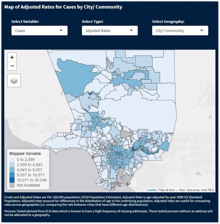 Map of adjusted case rates by city/community in Los Angeles County