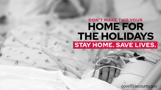 Person in a hospital bed. Don't make this your home for the holidays. Stay home. Save lives.