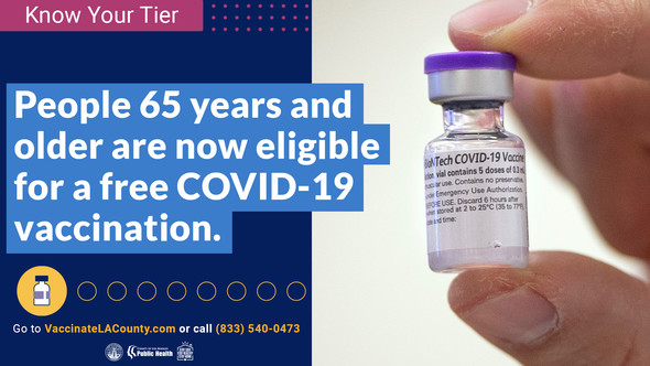 Know your tier. People 65+ are eligible for a free COVID-19 vaccination. Go to VaccinateLACounty.com or call (833) 540-0473.