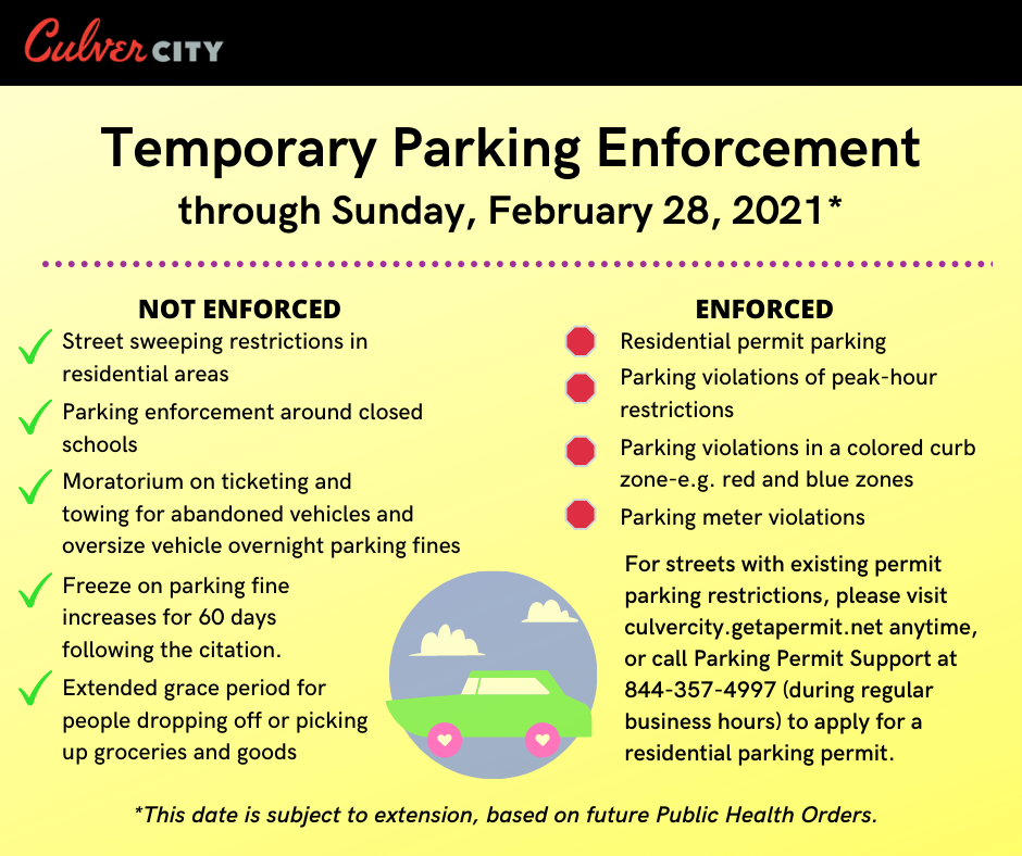 Temporary Parking Enforcement through Feb. 28. Click here for full text available on website.