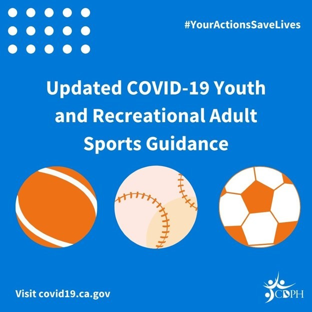 Updated COVID-19 Youth and Recreational Adult Sports Guidance. Visit covid19.ca.gov. CDPH. #youractionssavelives. Recreational balls.