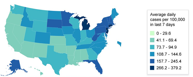 US map showing average daily cases per 100,000 in the last 7 days. Detailed data available at covid.cdc.gov/covid-data-tracker