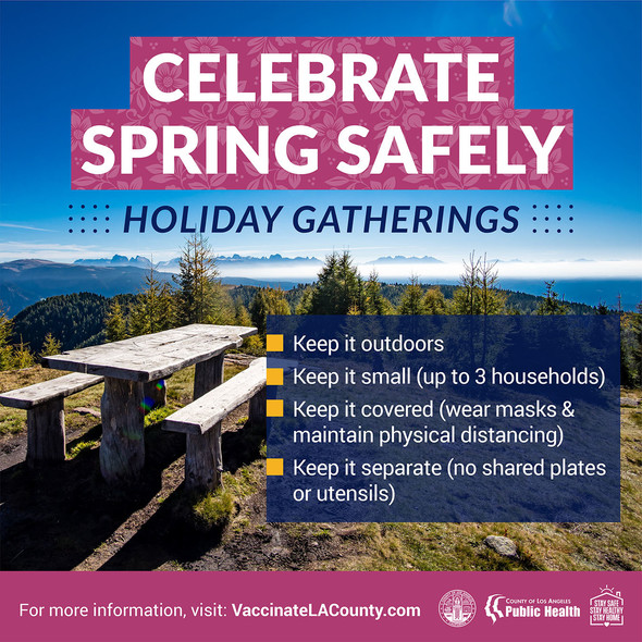 Celebrate Spring Safely: Holiday Gathering Reminders noted in text above. For more information, visit vaccinatelacounty.com