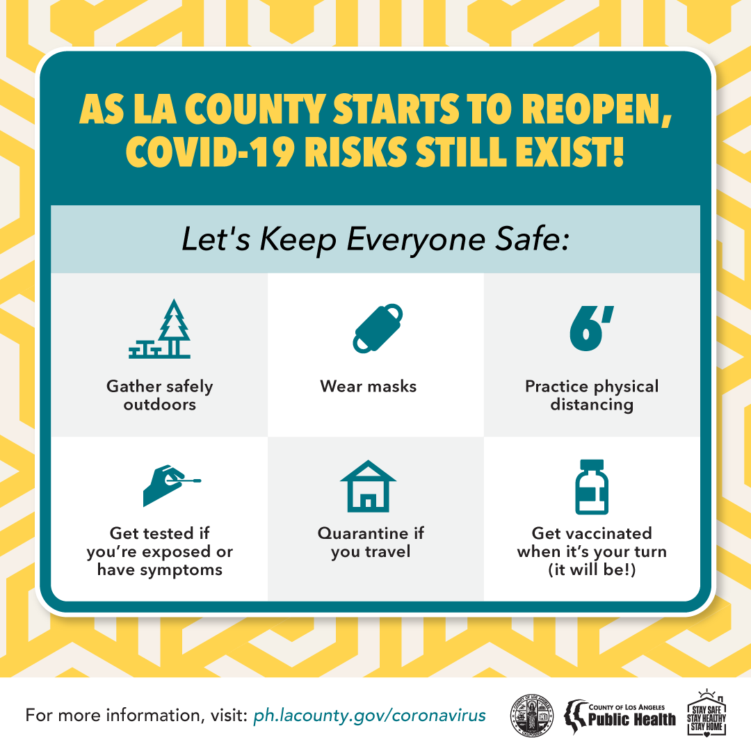 COVID-19 risks still exist: Gather safely outside, wear masks, 6 feet distancing, get tested if exposed, quarantine if travel, get vaccinated