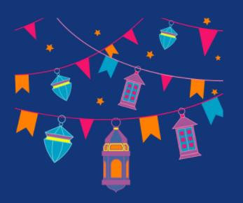 image of celebration flags and lanterns